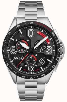 AVI-8 Mustang P-51 | cronografo | quadrante nero | bracciale in acciaio inossidabile AV-4077-11
