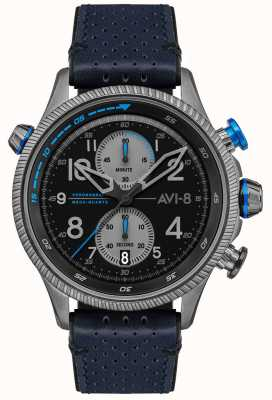 AVI-8 Hawker hunter | cronografo | quadrante nero | cinturino in pelle blu AV-4080-02