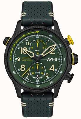 AVI-8 Hawker hunter | cronografo | quadrante verde | cinturino in pelle verde AV-4080-03