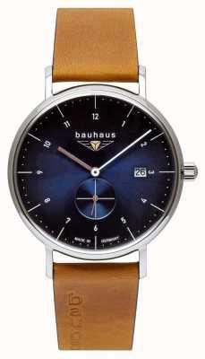 Bauhaus Cinturino da uomo in pelle marrone italiano | quadrante blu 2130-3