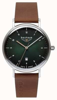 Bauhaus Cinturino da uomo in pelle marrone italiano | quadrante verde 2140-4