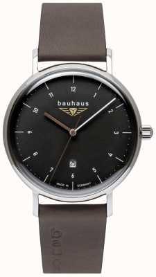 Bauhaus Cinturino uomo in pelle italiana grigio | quadrante nero 2142-2