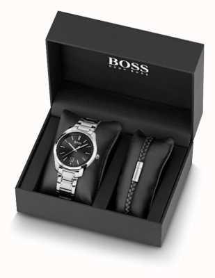 BOSS Set orologio da uomo in acciaio inossidabile e bracciale in pelle nera 1570084