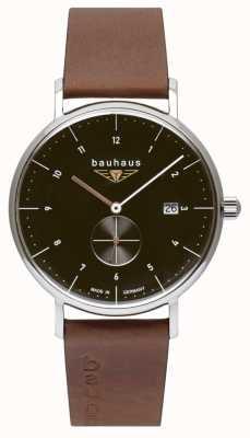 Bauhaus Cinturino da uomo in pelle marrone italiano | quadrante nero 2132-2