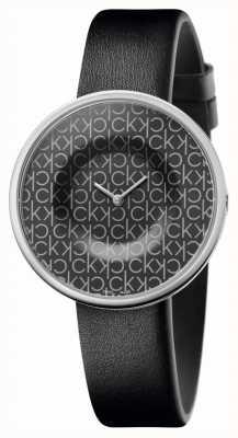 Calvin Klein | delle donne | mania | cinturino in pelle nera | quadrante nero con motivo ck | KAG231CX
