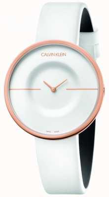 Calvin Klein | delle donne | mania | cinturino in pelle bianca | cassa in oro rosa | KAG236L2