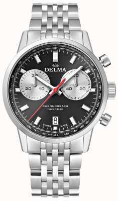 Delma Cronografo Continental | bracciale in acciaio | quadrante nero 41701.704.6.031