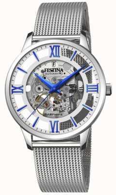 Festina Scheletro automatico da uomo | bracciale in maglia d'acciaio | quadrante argento / blu F20534/1