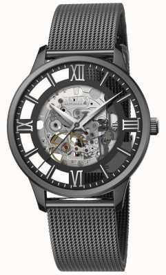 Festina Scheletro automatico da uomo | braccialetto di maglia nera | quadrante nero F20535/1