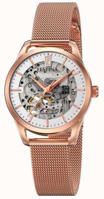 Festina Scheletro automatico da donna | bracciale a maglie in oro rosa F20539/1