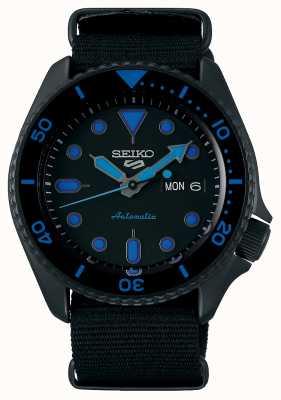 Seiko 5 sport | uomo | cinturino in nylon nero | quadrante nero / blu SRPD81K1