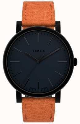 Timex | originali 42mm | quadrante nero | cinturino in pelle marrone chiaro | TW2U05800