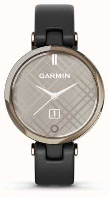 Garmin Lily edizione classica | lunetta in oro crema | custodia nera | cinturino in pelle italiana 010-02384-B1