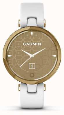 Garmin Lily edizione classica | lunetta in oro chiaro | cassa bianca | cinturino in pelle italiana 010-02384-B3