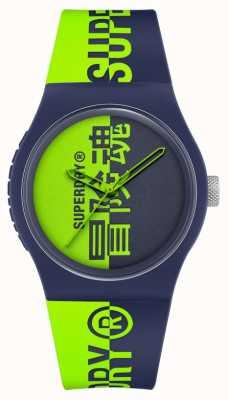 Superdry Cinturino soft touch in silicone stampato blu scuro e verde | quadrante verde stampato SYG346UN
