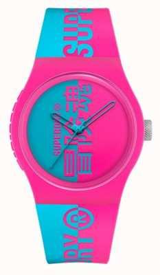 Superdry Cinturino soft touch in silicone stampato acqua rosa   quadrante con stampa acqua SYG346AUP