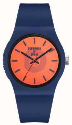 Superdry Cinturino in silicone soft touch blu scuro | quadrante arancione semitrasparente SYG347UO