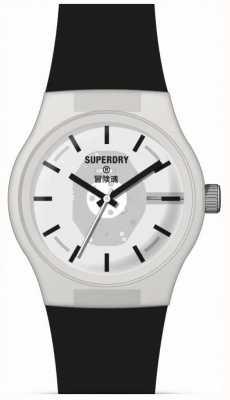 Superdry Cinturino in silicone nero soft touch | quadrante bianco semi trasparente SYG347B