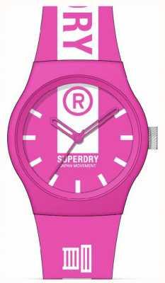 Superdry Cinturino in silicone soft touch stampato rosa e bianco   quadrante bianco stampato SYL348P