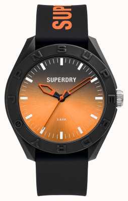 Superdry Quadrante sunray graduato arancione in silicone soft touch nero SYG321BO