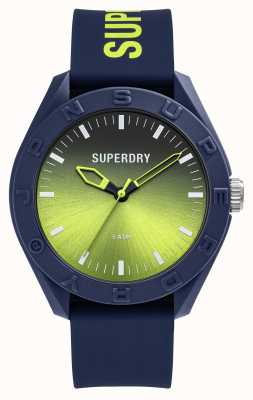 Superdry Quadrante a raggio di sole graduato in silicone lime soft touch blu scuro SYG321UN