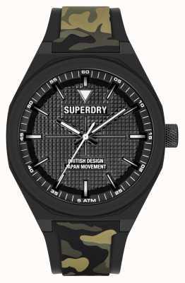 Superdry Quadrante nero soft touch in silicone stampato mimetico SYG324BN