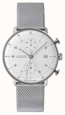 Junghans Cronografo Max bill | cinturino in maglia d'acciaio | 027/4003.48