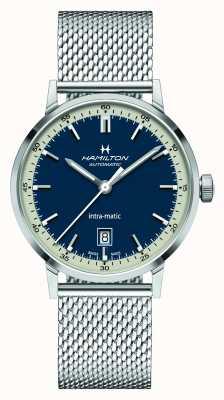 Hamilton Classico americano | intra-matic | bracciale in maglia d'acciaio | quadrante blu H38425140