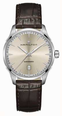 Hamilton Jazzmaster | auto | cinturino in pelle marrone | quadrante champagne H32475520