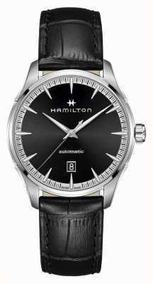Hamilton Jazzmaster | auto | cinturino in pelle nera | quadrante nero H32475730
