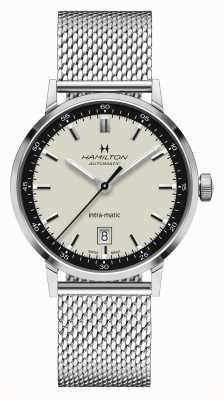 Hamilton Classico americano | intra-matic | bracciale in maglia d'acciaio | quadrante bianco H38425120