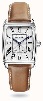 Michel Herbelin Art déco | automatico | quadrante argentato cinturino in pelle marrone 1938/08GO