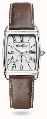 Michel Herbelin Donna | art déco | quadrante argento | cinturino in pelle marrone 10638/08MA