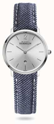 Michel Herbelin Città | cinturino in denim blu | quadrante argentato 16915/11JN
