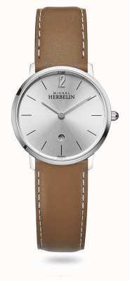 Michel Herbelin Città | quadrante argento | cinturino in pelle marrone 16915/11GO