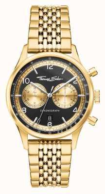Thomas Sabo Ribelle di cuore | bracciale da uomo color oro | quadrante nero WA0376-264-203-40