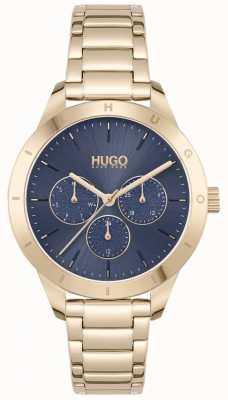 HUGO #amico | bracciale in acciaio placcato oro | quadrante blu 1540092