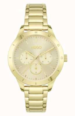 HUGO #amico | bracciale in acciaio placcato oro | quadrante in oro 1540091