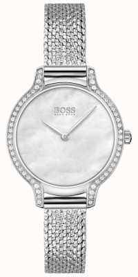 BOSS | gala | delle donne | bracciale in maglia di acciaio inossidabile | quadrante argento | 1502558