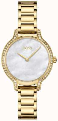 BOSS | gala | delle donne | bracciale placcato oro | quadrante in madreperla bianca | 1502557
