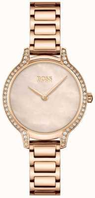 BOSS | gala | delle donne | bracciale in oro rosa | quadrante con perla in oro rosa | 1502556