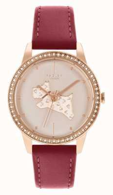 Radley Cinturino in pelle rossa da donna | quadrante motivo cane in oro rosa RY21184