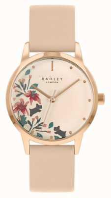 Radley Cinturino da donna in pelle color carne / rosa chiaro | quadrante floreale crema RY21220A