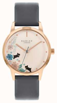 Radley Cinturino in pelle nera da donna | quadrante floreale crema RY21262A