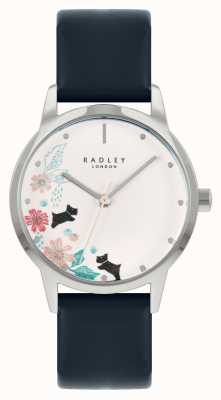 Radley Cinturino in pelle blu da donna | quadrante floreale bianco RY21229A
