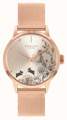 Radley Bracciale da donna in maglia oro rosa | quadrante floreale argento RY4582A