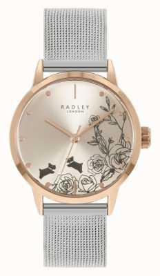 Radley Bracciale da donna in maglia di acciaio inossidabile argento | quadrante floreale argento RY4581A