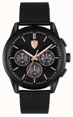 Scuderia Ferrari Grand tour | bracciale in maglia nera da uomo | quadrante nero 0830807