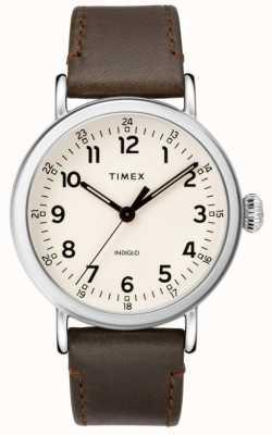 Timex Cinturino in pelle marrone standard da uomo   quadrante beige TW2T20700