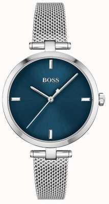 BOSS Donna | maestà | quadrante blu | maglia di acciaio inossidabile 1502587